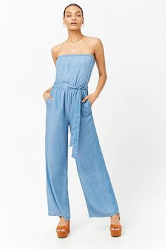 Forever 21 Strapless Chambray Jumpsuit