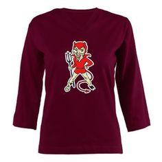 Red Devil 3/4 Sleeve T-shirt £20.50/$29.40 www.creamtees.net #womens #ladies #fashion #tshirt #devil #diablo