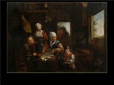 Peasant Family in the KitchenIn the style of David III Ryckaert (1612-1661) Likely 17th Century
