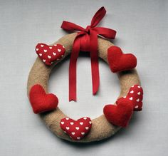 Couronne de Noël fait main / toile de jute et coton par FunkySunday, €22.00