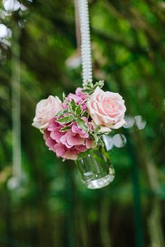 pretty hanging florals for an outdoor wedding | www.onefabday.com