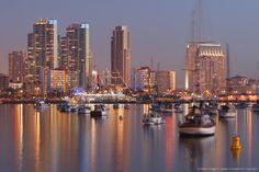 San Diego Skyline and Harbour at Dusk