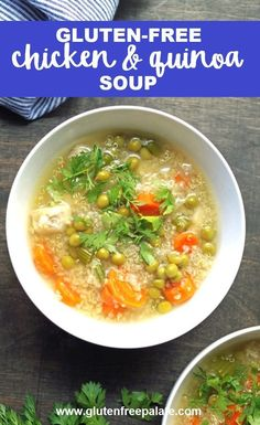 The best gluten-free soup! Super easy gluten-free chicken and quinoa soup. This gluten-free soup is ready in no time and uses minimal ingredients. Gluten Free Drinks, Easy Gluten Free Desserts, Gluten Free Sides Dishes, Gluten Free Soup, Gluten Free Recipes For Dinner, Gluten Free Rice, Healthy Gluten Free Recipes, Gluten Free Chicken, Gf Recipes