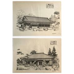 Japan Fine Pair of Vintage Building Prints, Mid-Century Modern | From a unique collection of antique and modern architectural elements at https://www.1stdibs.com/furniture/building-garden/architectural-elements/