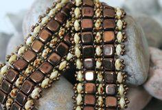 Unique SuperDuo Tile Bead Bracelet Embellished by ReggiesCreations