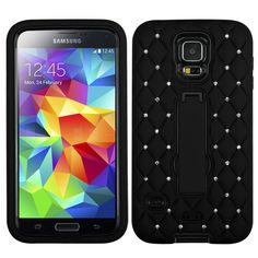 SAMSUNG GALAXY S5 SV BLACK DIAMOND RHINESTONE BLING KICKSTAND COVER HYBRID CASE #ZizoWireless