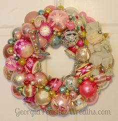 "Image of Pink Dreams Vintage Shiny & Brite Ornament Wreath - 15"" diameter"