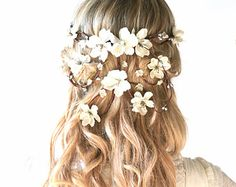 Bridal crown flower head wreath wedding hair от hazelfaire на Etsy