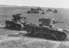 Destroyed tanks T-26 of 19. Panzer Division, 22 Mechanized Corps, near Lutsk