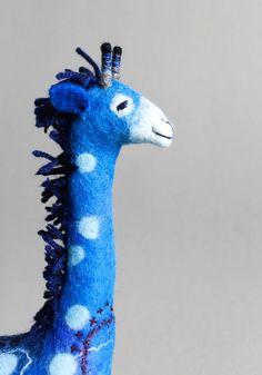 Abimbola - Felt Giraffe. Art Puppet, Marionette, Stuffed Animals, Felted Toy. blue, ultramarine.  READY TO SHIP. by TwoSadDonkeys on Etsy https://www.etsy.com/listing/210480702/abimbola-felt-giraffe-art-puppet