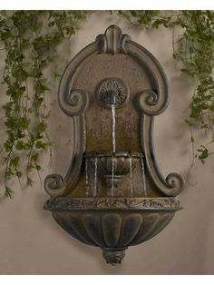 Order Kontiki Water Features - Faux Stone Fountains Muro Elegante Copper Finish Wall Fountain, delivered right to your door. Garden Fountains Outdoor, Indoor Water Fountains, Indoor Fountain, Fountain Garden, Fountain House, Fountain Ideas, Stone Fountains, Fountain Design, Garden Ponds