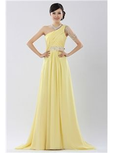 Charming A-Line One Shoulder Beaded Sweep Train Evening Dress