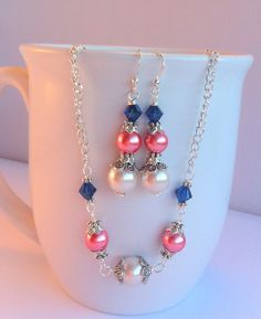 Jewelry Set Coral and Navy Blue Pearl and by Sarahkayejewelry2, $30.00