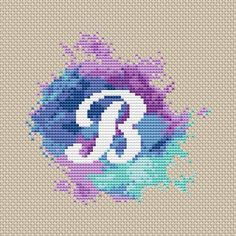Monogram B cross stitch pattern Modern cross stitch Letter Watercolor x-stitch Initial Name Counted Monogram B cross stitch pattern, Modern cross stitch watercolor Letter Funny Cross Stitch Patterns, Vintage Cross Stitches, Cross Stitch Designs, Cross Stitch Quotes, Cross Stitch Kits, Cross Stitch Charts, Monogram Cross Stitch, Simple Cross Stitch, Cross Stitching