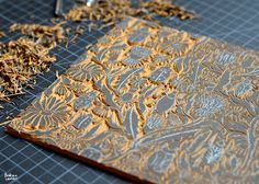 Andrea Lauren: Creating a Repeating Block Print Pattern by Andrea. Stamp Printing, Screen Printing, Engraved Plates, Andrea Lauren, Clay Stamps, Stamp Carving, Handmade Stamps, Linoprint, Print Patterns