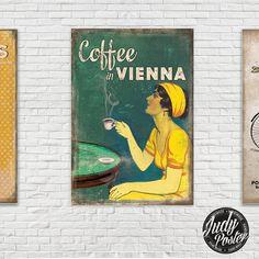 Vintage / Retro travel Wall Decor Coffe in Vienna poster