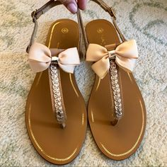 Cute Teen Shoes, Bow Sandals, Peep Toe Shoes, Wedding Night, Tans, Refashion, Diy Fashion, Open Toe, Size 10