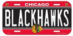 NHL Chicago Blackhawks 6x12 Plastic License Plate. For product & price info go to:  https://all4hiking.com/products/nhl-chicago-blackhawks-6x12-plastic-license-plate/