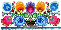 """One of my inspirations: traditional paper cut-out so-called """"codra"""" from Lowicz region, Poland. I picked this from Polish Folk Art site. Folk Embroidery, Japanese Embroidery, Folk Art Flowers, Flower Art, Polish Folk Art, Art Folder, Scandinavian Folk Art, Truck Art, Arte Popular"""