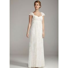 David's Bridal Floral Burnout Chiffon Gown ($172) found on Polyvore