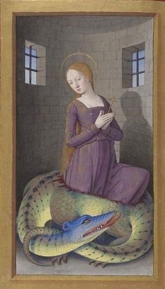Jean Bourdichon, St Margaret of Antioch, patron saint of pregnancy, labour, and childbirth. Horae ad usum fratrum praedicatorum (Hours of Frederick of Aragon). Tours, 1501-1504