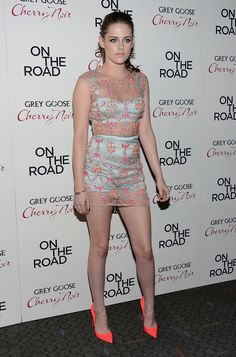 Kristen Stewart in an Erdem outfit and neon Christian Louboutin heels at the premiere of 'On The Road' in New York outfit yes- her NAHHHH