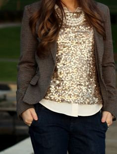 Blazer, sparkle top over blouse, pearls and navy pants for fall and winter style!