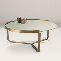 Eclipse Coffee Table - circular 12mm frosted tempered glass top, set within stainless steel frame in brushed bronze finish