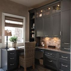 space saving ideas and furniture placement for small home office design #smallwoodcrafts Office Cabinet Design, Home Office Cabinets, Home Office Storage, Home Desk, Home Office Desks, Home Office Furniture, Furniture Ideas, Deco Furniture, Furniture Outlet