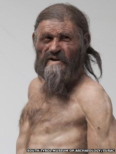 Reconstruction of 'Oetzi,' the 5300-yr-old 'Iceman' whose remarkably well-preserved body & gear were discovered in the Italian Alps in 1991.