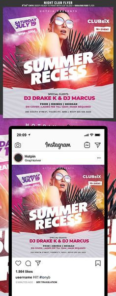 """Summer Flyer Template is very modern psd flyer that will be the perfect invitation for your Night Club event or party! All elements are in individual layers and the text is fully editable! 2 PSD files – 4""""x4"""" with 0.25"""" bleed + 1080×1080 Rgb Social media ready Clearly labelled folders and layers"""