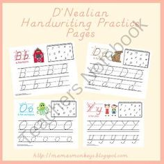 DNealian Handwriting Practice Pages from LittleMonkeyPrintables on ...