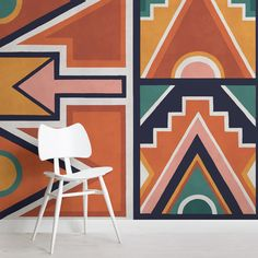 Orange and Blue Ndebele Print African Style Wallpaper Mural Geometric Wallpaper Murals, World Map Wallpaper, Print Wallpaper, Pattern Wallpaper, Wallpaper Designs, African Colors, African Style, African Patterns, South African Art