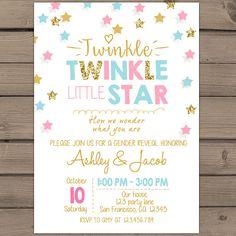 Twinkle Twinkle Litte Star Gender reveal door Anietillustration