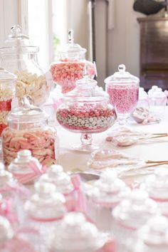 PINK & WHITE LOLLY STATION. Create a Lolly Station with your favourite lollies. Here, guests were provided with pretty glass jars to fill at the end of the night as a take home gift. Photography: www.mintphotography.com.au. Wedding Gallery | Hire Ideas & Inspiration | Your Event Solution | YES #weddings #YourEventSolution