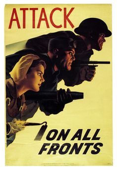 Triple Attack    1943 Canadian poster from WW2. The artist was Hubert Rogers.