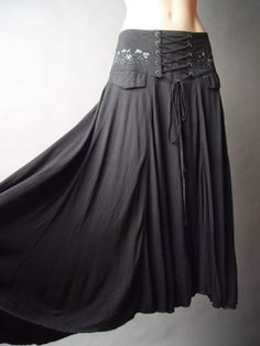 Long black medieval laced up skirt