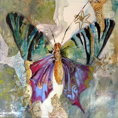 Gelli Arts® Printing -  Suzanne McNeill Paula's beautiful butterfly collage with Gelli papers.