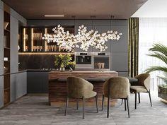 Luxury Kitchen Design, Kitchen Room Design, Dining Room Design, Interior Design Kitchen, Kitchen Ideas, Kitchen Cabinet Design, Kitchen Sink, Muebles Living, Luxury Dining Room