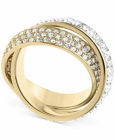 Michael Kors Ring, Gold-Tone Pave and Baguette Criss-Cross Band Ring.....I Like