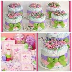 6 Mini Diaper Cakes , ANY THEME COLORS , Baby Shower Decorations , Carters Baby Girl Baby Shower. $58.00, via Etsy.