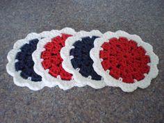 Drink Coasters Crochet Coasters Crochet Coaster by SadiesCottage