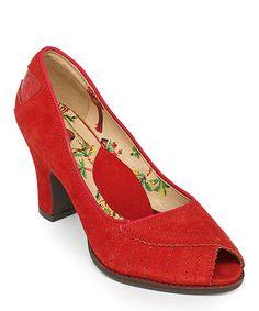 Look at this #zulilyfind! Pink Amalfi Leather Peep-Toe Pump #zulilyfinds