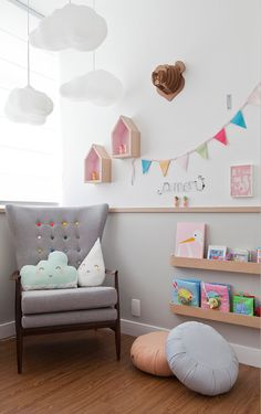Love the chair...and did you notice the colored buttons n the chair...great way to re-design a nursery room or child's room with a pop of color.Found by ButterflyOrbs.Cristiane Passos_ Montessori