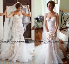 2016 Gorgeous Trumpet Wedding Gown by Steven Khalil Stunning Detailing 3D Floral Spaghetti Backless Mermaid Wedding Dresses Plus Size Online with $164.4/Piece on Gaogao8899's Store | DHgate.com