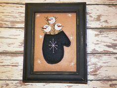 Snowman Primitive Picture Stitchery UNFRAMED by wvluckygirl, $10.49