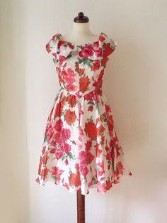 Floral Party Dress  Vintage 1980's Dress by PaperdollVintageShop, €29.90