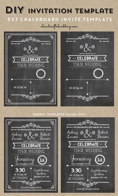 Check out this Printable DIY Chalkboard Wedding Invitation Template via ahandcraftedwedding.com #invitation #chalkboard