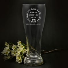 Father's Day Engraved 425ml Schooner Beer Glass <3