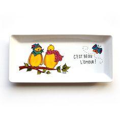 Assiette décorative pour mariage • C'est beau l'amour • 2 oiseaux et papillon • Cadeau peint à la main par l'artiste Isabelle Malo http://www.isamalo.com